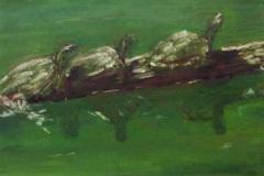 01 pastel drawing of three tiurtles on a log in green water by artist Susan Arrowood.