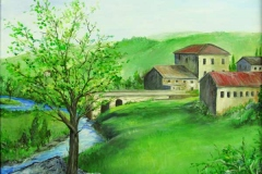 10 watercolor of rural house near stream.