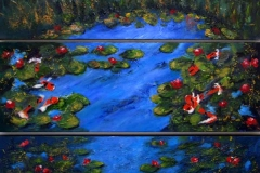 14 triptych of waterside lanscape with approaching wildfire.
