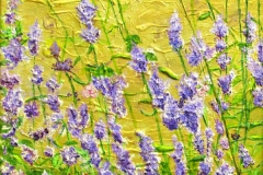 19 acrylic of lavendar flowers against a gold-yellow background.