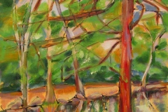 28 oil painting of redwood trees on a path near water.