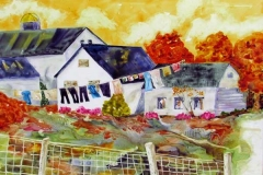 03 colorful watercolor of houses and clothes lines by artist Dianne Garner.
