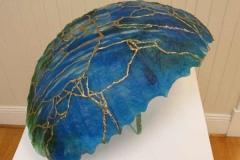 33 blue glass, 14k-gold art glass sculpture.