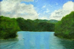 34 oil painting of lake scene above a dam.