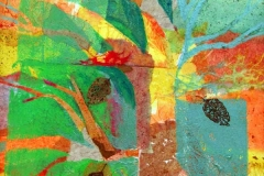 04 colorful collage of fall tree by artist Dianne Garner.