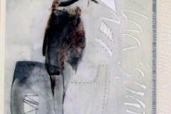 47 mixed media drawing and collage of a bird and calligraphic elements.