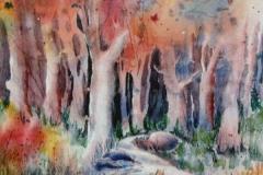 53 autumn wood watercolor scene.