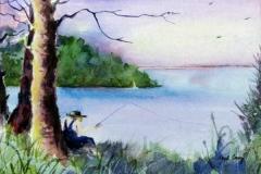 56 fishing man sitting under a tree beside a lake.
