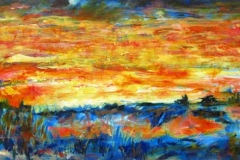 58 acrylic painting of a red sunset over a green landscape.