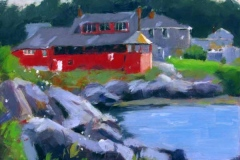 61 painting of a red lakeside house.