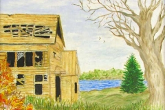 66 old yellowing wooden house near a lake.
