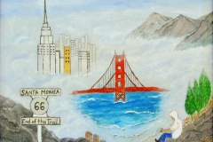67 hillside traveler seeing visions of Route 66 sign, New York City, and the Golden Gate bridge.