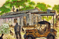 06 watercolor of farm scene with man, truck, and dogs by artist Bertie McClain.