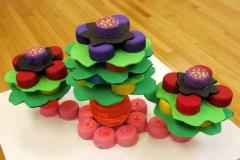 73b bright plastic flower soft sculptures.