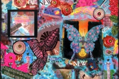 74 bright collage of type, flowers, buildings, and butterflies.