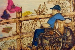 07 watercolor of man in wheelchair at country fence with butterflies by artist Bertie McClain.