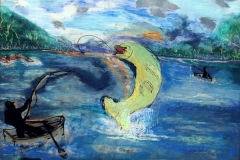 08 watercolor of fisherman reeling in floundering fish by artist Bertie McClain.