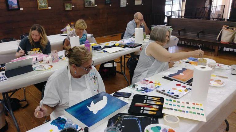 artists at acrylic painting workshop at southern arts society