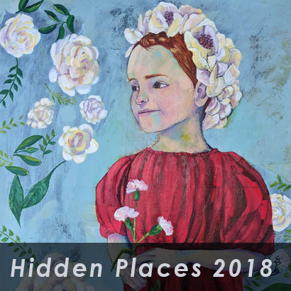 hidden places 2018 with background paintied portrait of girl
