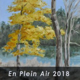 En plain air 2018 with background of trees around lake