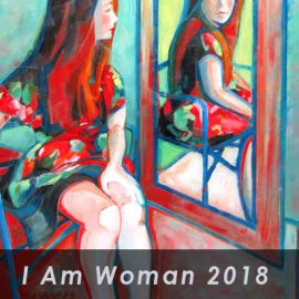i am woman in front of painted portrait of woman looking in a mirror