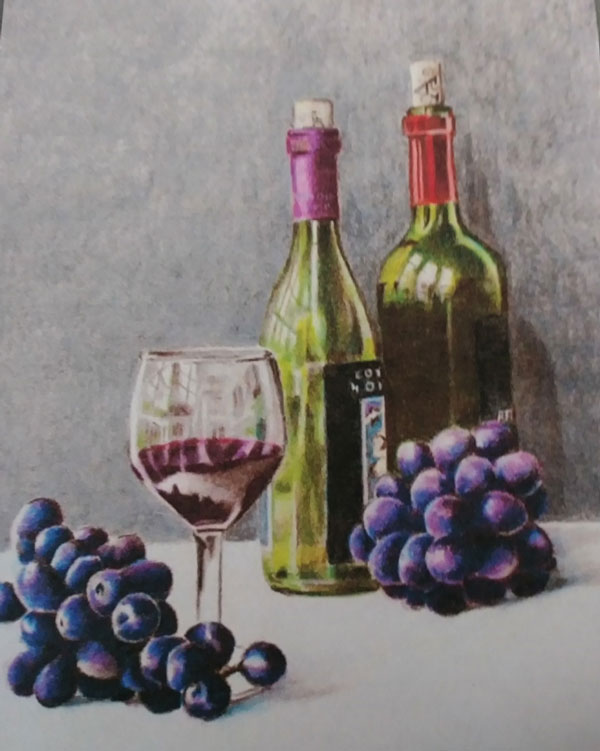 Wine-glass-and-bottles-and-grapes