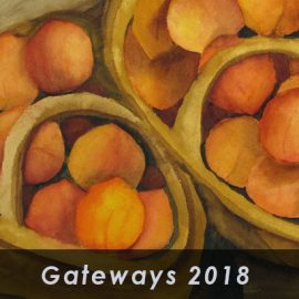 gateways 2018 exhibt with backgroung of painted peaches