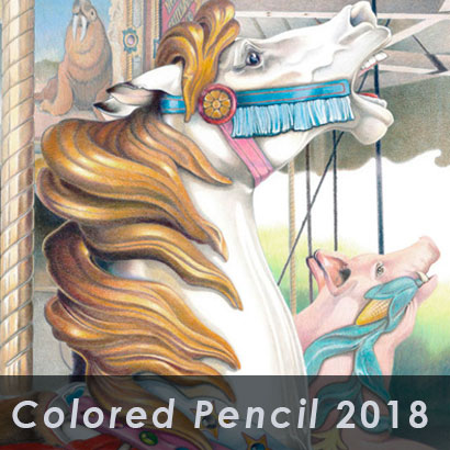 colored pencil 2018 exhibit with background of colored pencil