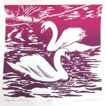 February calendar page silkscreen of 2 swans