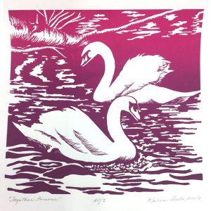February calendar page silkscreen of 2 swans