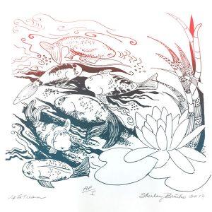 March calendar page silkscreen of fish going upstream