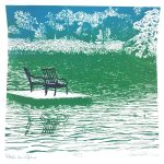 July calendar page silkscreen of chairs on pier at lake