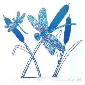August calendar page silkscreen of dragonflies with cats tale plants
