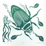 September calendar page silkscreen of green diving beetle