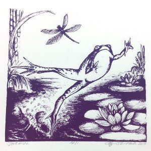 October calendar page silkscreen of purple bullfrog and dragonfly