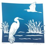November calendar page silkscreen of 2 herons