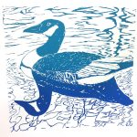 December calendar page silkscreen of duck on water