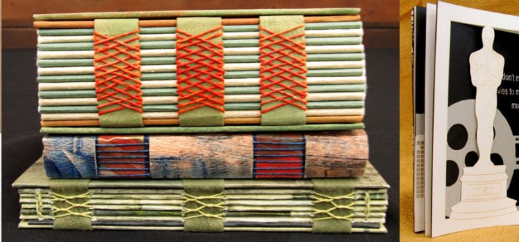 laser cut and art books with handmade, marbleized, and hand-stitched covers by Sandy Mason, Anne Cowie, and Lore Spivey