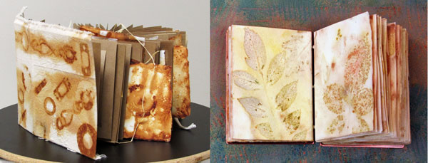 samples of book art for demo at southern arts society: Deborah Rogers Eco Print and Janet Kaufman Rust Book