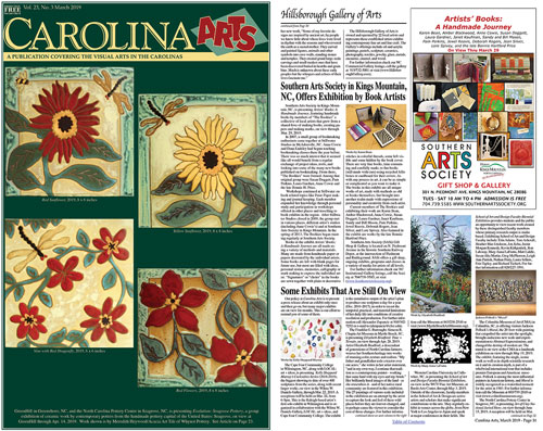 carolina arts magazine march 2019 2 pages cover and page 31