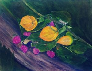 yellow and magenta flowers rendered in colored pencil by artist ron shepard