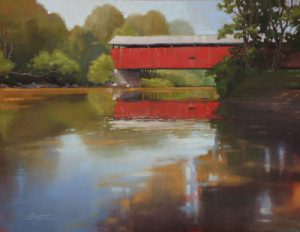 red covered barn over gently flowing river painted in oil by Todd Baxter