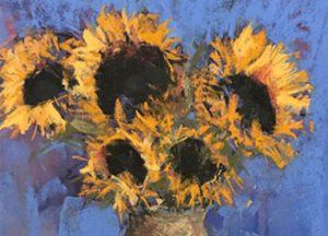 golden sunflowers rendered in pastel by artist Anne Strutz
