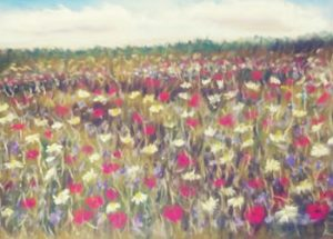 yellow and magenta flowers in afield rendered in pastel by artist Ron Shapard