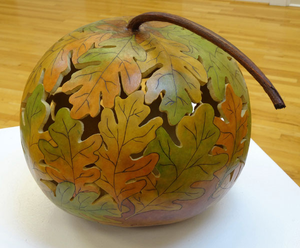 ceramic pottery sphere made of leaf shapes
