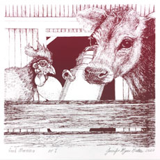Cow and rooster image by Jennifer Kirton on January page of 2020 hand-printed Southern Arts Society working animals themed 2020 calendar