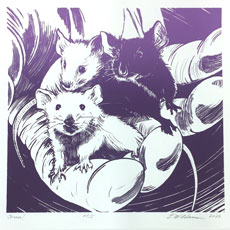 3 lab mice image by Lori McAdams on February page of 2020 hand-printed Southern Arts Society working animals themed 2020 calendar