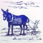 Donkey image by Shirley Brutko on March page of 2020 hand-printed Southern Arts Society working animals themed 2020 calendar