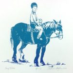 Horse and rider image on May page of 2020 hand-printed Southern Arts Society working animals themed 2020 calendar