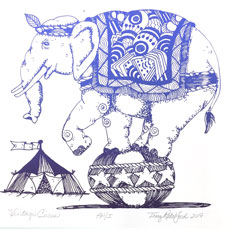 Circus elephant on ball image by Terry Ratchford on July page of 2020 hand-printed Southern Arts Society working animals themed 2020 calendar
